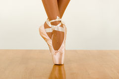 Tiptoe. Ballerina Dancing Using Pointers (Ballet footwear Stock Photography