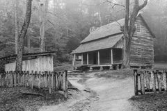 Tipton Cabin Cades Cove Great Smoky Mountain National Park. Black and white Royalty Free Stock Image