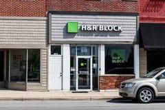 H&R Block Retail Tax Preparation Location. Block Operates 12,000 Locations III. Tipton - Circa May 2019: H&R Block Retail Tax Preparation Location. Block royalty free stock photos
