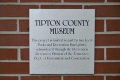 Tipton okręgu administracyjnego Muzealna plakieta, Covington Tennessee Obrazy Stock