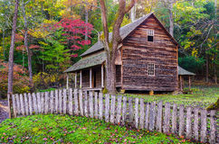 Tipton Place, Cades Cove, great Smoky Mountains. Beautiful autumn foliage around the old Tipton homestead in Cades Cove of the Great Smoky Mountain National Park Royalty Free Stock Images