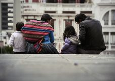 A typical family from the city of La Paz stock photography