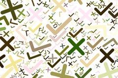 Tiquetaque abstrato ou sinal transversal da marca, o direito ou o errado Decoração, generative, forma & detalhes ilustração do vetor