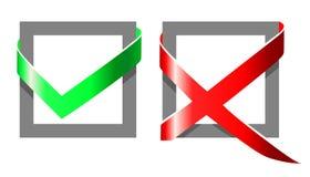 Tiquetaqueie e cruze as caixas para eleições com efeito 3D ilustração stock