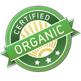 Étiquette organique certifiée de produit ou de nourriture Photos libres de droits