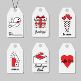 Étiquettes de cadeau de jour du ` s de St Valentine Collection imprimable de vecteur d'étiquettes d'achats et de vente Romantique Images stock