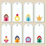 Étiquettes de cadeau de princesse Photo libre de droits