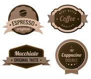 Étiquettes de cru de café Photo libre de droits