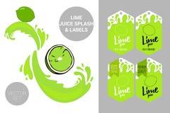 ?tiquettes de labels de fruit et texte organiques de jus de limette Autocollants tropicaux color?s Insignes exotiques juteux de f illustration libre de droits