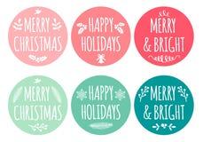 Étiquettes de Noël, ensemble de vecteur Photographie stock