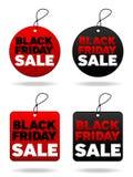 Étiquettes noires de vendredi Photographie stock libre de droits