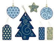 étiquettes saisonnières d'or bleu Images libres de droits