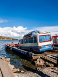 Tiquina, Bolivia - December 7, 2011: Crossing a little strait at Tiquina Royalty Free Stock Photos