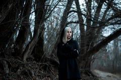 Tiré d'une femme gothique dans une forêt Images libres de droits