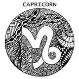 Tiré par la main Capricorne de signe de zodiaque Illustration de vecteur illustration stock