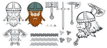 Tiré par la main d'un Viking dans un casque Armes traditionnelles scandinaves Caractère barbu d'homme de bande dessinée Viking Ta illustration de vecteur