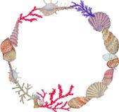 Tiré par la main dans l'élément naturel du monde de mer d'aquarelle Cadre de coquille de récif coralien sur le fond blanc illustration libre de droits