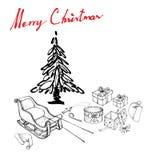 Tiré par la main de Santa Hat avec Sleigh et des cadeaux Photos libres de droits