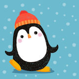 Tiré par la main du pingouin mignon utilisant le chapeau rouge Image libre de droits