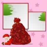 Tiré par la main et cadre Santa et Noël Photos libres de droits