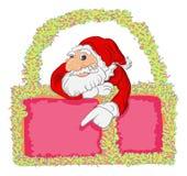 Tiré par la main et cadre Santa et Noël Image stock