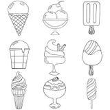 Tiré par la main mignon avec différents types de crème glacée  Images stock