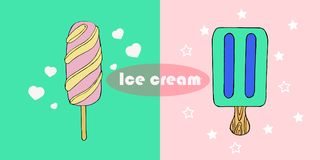 Tiré par la main mignon avec différents types de crème glacée  Texture de griffonnage avec les desserts doux Image libre de droits