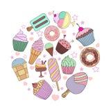 Tiré par la main mignon avec différents types de crème glacée  Texture de griffonnage avec les desserts doux Fond parfait pour le illustration stock