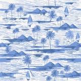 Tiré par la main monotone sur l'ombre du modèle sans couture bleu d'île sur le fond blanc illustration de vecteur