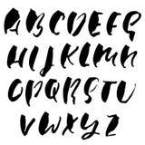 Tiré par la main séchez la police de brosse Lettrage moderne de brosse Alphabet grunge de style Illustration de vecteur Photos libres de droits