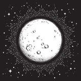 Tiré par la main schéma et point style antique fonctionnent la pleine lune avec des rayons de lumière Tatouage chic de Boho ou il illustration de vecteur