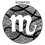 Tiré par la main Scorpion de signe de zodiaque Illustration de vecteur illustration libre de droits