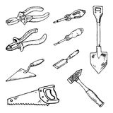 Tiré par la main un ensemble d'outils pour des griffonnages de réparation et de construction S illustration libre de droits