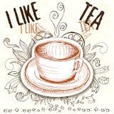 Tiré par la main une tasse avec des éléments de thé Image stock