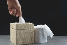 Tirón de la mano de la imagen del primer que los papeles higiénicos ruedan en caja Fotografía de archivo libre de regalías