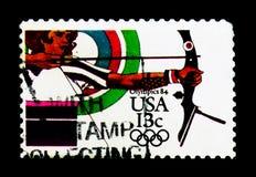 Tir à l'arc, Jeux Olympiques 1984 - serie de Los Angeles, vers 1983 Image stock