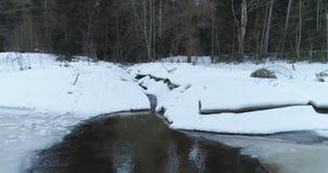 Tir aérien au-dessus de rivière congelée dans la forêt de sapin en hiver Photographie stock libre de droits
