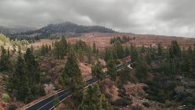 Tir aérien Caméra au-dessus des cimes d'arbre entraînement de voitures une nouvelle route goudronnée menant loin dans les montagn banque de vidéos