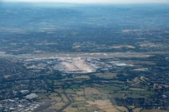Tir aérien d'un airpoer à Manchester images stock