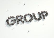 Tir aérien d'une foule des personnes formant le mot 'groupe' Conce Image stock