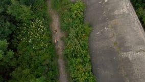 Tir aérien d'une jeune femme et de son fils courant au territoire d'une vieille 1ère forteresse de guerre mondiale pendant le cou clips vidéos