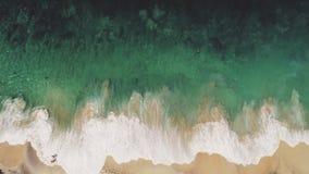 Tir aérien de bourdon : Vagues énormes de plage d'océan clips vidéos