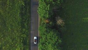 Tir aérien de l'équitation convertible blanche de voiture par la route rurale vide Quatre jeunes femmes méconnaissables voyageant banque de vidéos