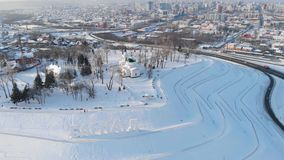 Tir aérien de vue principale à la ville de Barnaul banque de vidéos