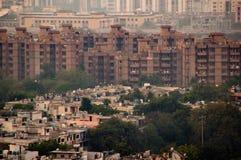 Tir aérien des appartements de logement dans Noida Photographie stock libre de droits