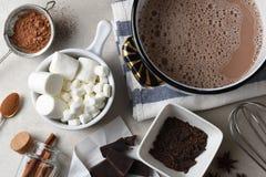 Tir aérien des ingrédients et des outils, pour faire le cacao chaud images stock