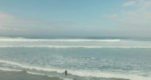Tir aérien des surfers attrapant les vagues dans l'océan banque de vidéos