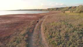 Tir aérien du jeune fonctionnement sportif de femme extérieur près du lac ou du liman pendant le beau lever de soleil ou coucher  banque de vidéos