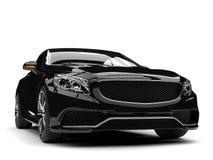 Tir automobile convertible de luxe moderne noir brillant de plan rapproché de vue de face illustration stock