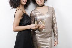 Tir cultivé de deux femelles tenant des verres de champagne Images stock
